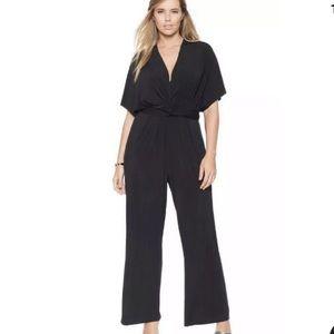 Eloquii Twist Front Black Wide Leg Jumpsuit